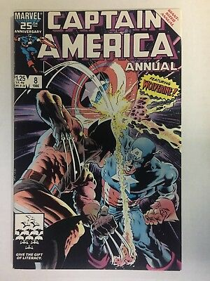 CAPTAIN AMERICA Annual #8 (1986), (Wolverine), VF/NM shape, FREE SHIPPING