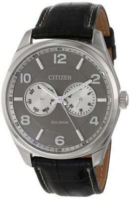 Citizen Eco-Drive AO9020-17H Men's Dress Gray Dial Black Leather Band Watch
