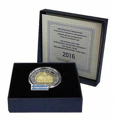GREECE. 2€ Silver 925 Proof 2016 in BOX, Arkadi Monastery, Official 1500 pieces.