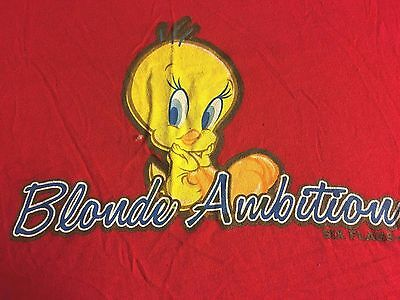 NWT~Six Flags Warner Brothers~RED~ TWEETY BIRD T-Shirt~JR Size L~BLONDE AMBITION