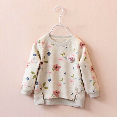 Toddler Kids Baby Girls Floral Print Winter Cotton Warm Tops T-Shirt Blouses New