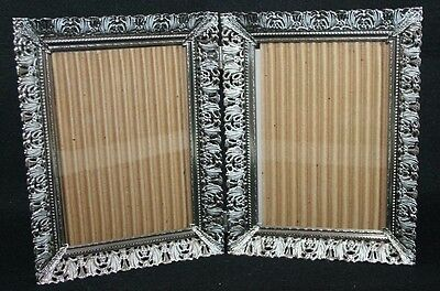 Bi-fold Ornate vintage reticulated metal double hinged frame photo picture