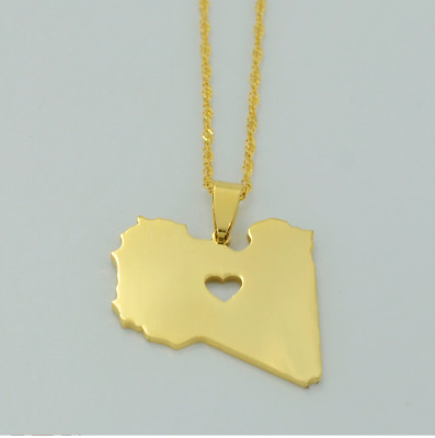 State Of Libya Love Heart Map Country Africa Gold Chain Charm Pendant Necklace