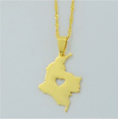 Colombia Columbia Love Heart Country Map Gold Stainless Steel Pendant Necklace