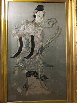 ANTIQUE Huge Chinese Embroidery of Guanyin with flowers and deer, 19th century