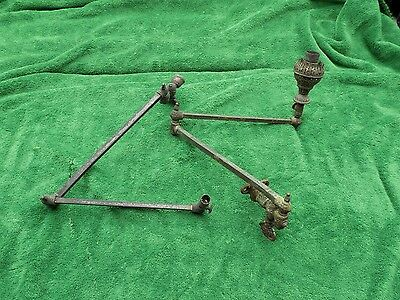 Rare Antique Victorian? Ornate Metal Gas Oil Lamps Swing Arm Wall Mount Estate