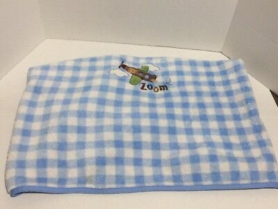 1ccee5688a9 Garanimals Blue White Zoom Airplane Baby Blanket Gingham Check Plaid