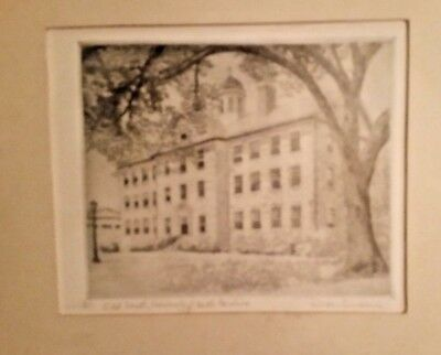 Don Swann hand signed ltd edition 11/300 Old South University of NC etching RARE