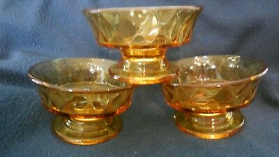 "EAPG - Bryce - ""Diamond Quilted"" (3) amber footed individual sauce bowls"