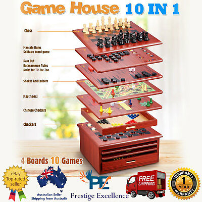 10 N 1 Wooden Chess Board Games House Set Toy Backgammon Checkers Snakes Ladders