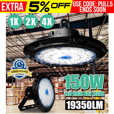 1/2/4 PCS 150W UFO LED High Bay Light Warehouse Industrial Commercial Shed Lamp