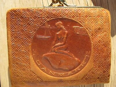 Vintage Denmark Mermaid EMBOSSED LEATHER WALLET!Great SHAPE!