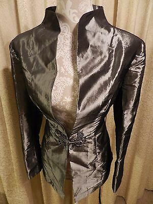 Vtg Old Shanghai Brocade Asian Frog Clasp Long Sleeve Jacket Size Large