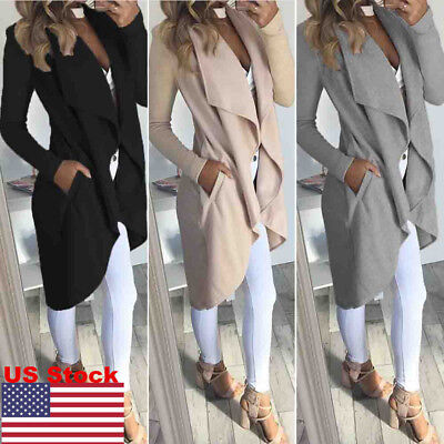 US Ladies Women Waterfall Italian Duster Jacket Short Trench Long Coat Cardigan