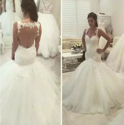 Sexy Mermaid Spaghetti Lace Tulle Open Back Wedding Dresses Bridal Gowns Ivory