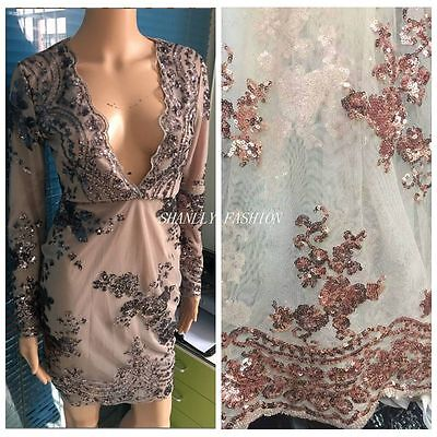 Floral Sequins Embroidery Scolloped Edges Mesh Lace Fabric Dress Prom 51/'/'//Yard