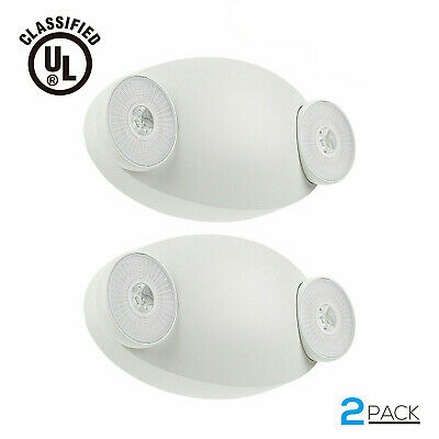 LED Emergency Light with Battery Backup, UL-Listed, Adjustable Two Round Heads