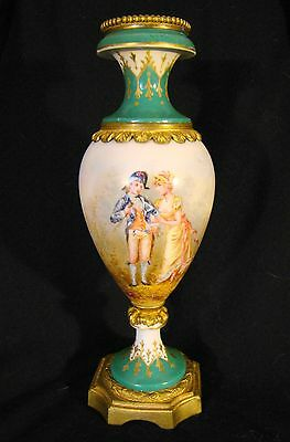 French Porcelain Ormolu Mounted Signed Hand Painted Vase Blue Sevres Louis Mark