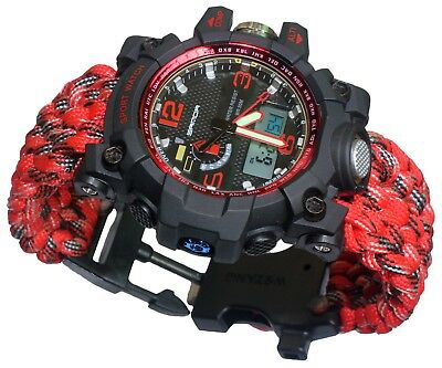 Red Water Resistant Outdoor Mens Wrist Watch Analog-Digital Military paracord