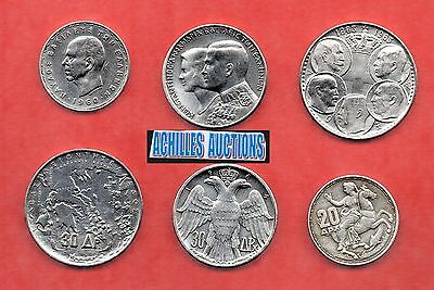 20-30-30 Drachmai 1960-1963-1964 XF-AU, Greek Kings 1863-1973, 3 Silver Coins