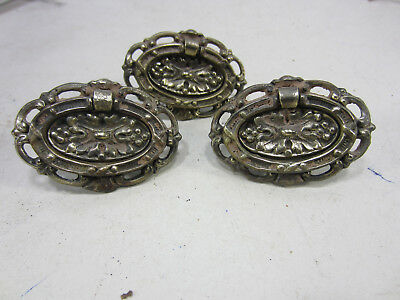 3 Vintage Keeler Brass Oval Ring Drawer Pulls- Leaf Design  #525
