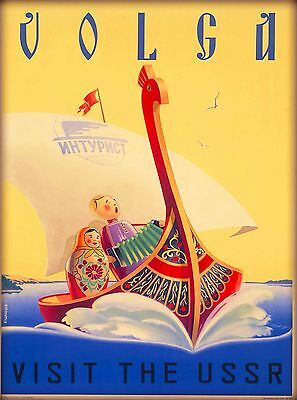 Volga River Russia Vintage Russian USSR Travel Advertisement Art Poster Print