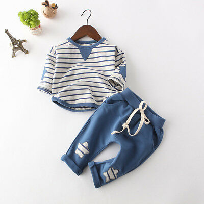 5555b5f755c15 Fashion Casual Newborn Girl Boy Toddler Cotton Stripe T Shirt+Pants Outfits  Set