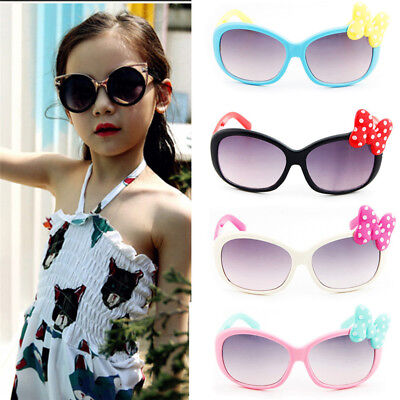 6Colors Anti-UV Sunglasses Kids Boys Baby Girls Cartoon Goggle Glasses Bow Pop