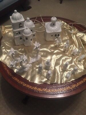 Vintage Fitz and Floyd White Porcelain Nativity 16 Piece Set