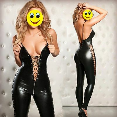 Zip offen Wetlook Bodystocking Catsuit Overall Dessous Clubwear Party Bodycon