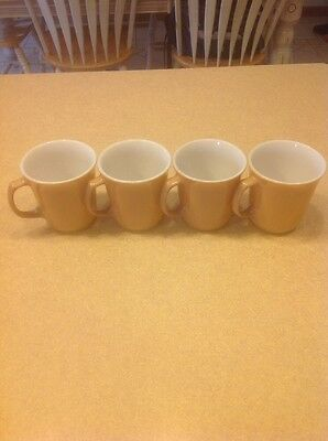 4 Toffee Coffee D handle Pyrex Corning Corelle Coffee mugs cups vintage 1960s