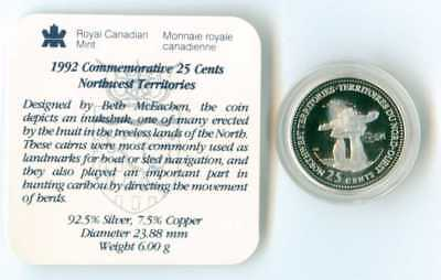 1992 Canada Sterling Silver Canada 25 Cent Quarter  Proof Northwest Territories