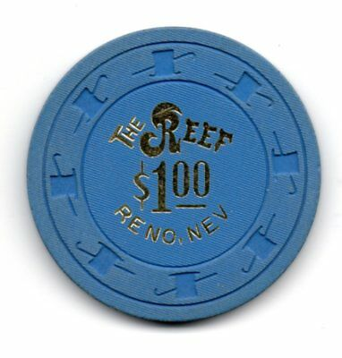 Reef $1.00 Casino Chip Reno NV TCR# N1119 Hat & Cane Mold The Reef Casino
