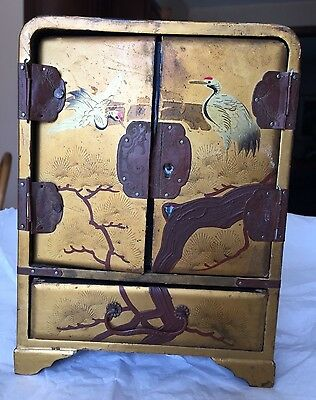 Antique, Japanese, Gold Lacquered Tansu Box, Late19th or Early 20th Century