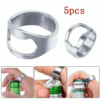 5 Pcs Stainless Steel Finger Thumb Ring Bottle Open Opener Bar Beer Tool New