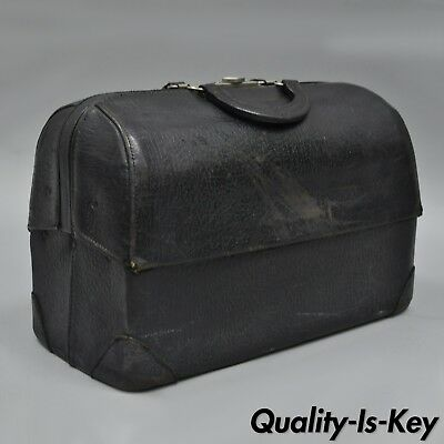 Antique Emdee by Schell Black Leather Cowhide Medical Doctor Bag Vintage A