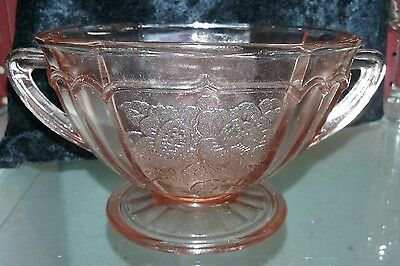 MAYFAIR OPEN ROSE PINK DEPRESSION OCTAGON OPEN SUGAR 2 3/4 in. Ca. 1930's