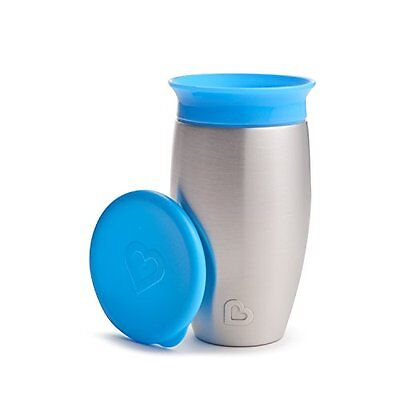 Munchkin Miracle Cups Stainless Steel 360 Sippy Cup, Blue, 10 Ounce