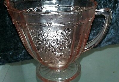 MAYFAIR OPEN ROSE PINK DEPRESSION OCTAGON CREAMER 3 1/2 in. Ca.1930's