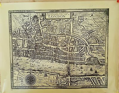Medieval  Map of London  Vintage Reproduction wonderful  Decor to Frame