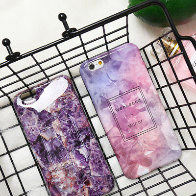 Chic Purple Pink Crystal Marble Soft Phone Case Skin For iPhone X 6 6s 7 8 Plus