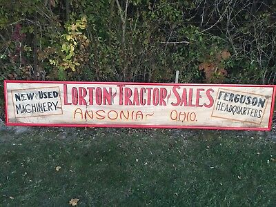 "Vintage Original Ferguson Tractor Hand Painted Canvas Sign 11' 8"" X 2'  Old Farm"