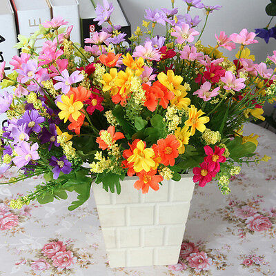 28 Head Artificial Fake Silk Daisy Flower Bouquet Home Wedding Party Decor.