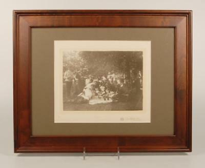 Antique Original Russian photo, Nicholas II & officers lunching