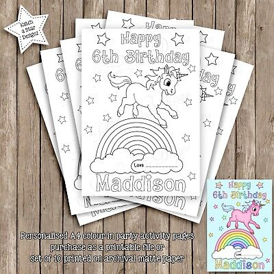 Unicorn Rainbow Personalised Party Activity A4 Colour In Pages
