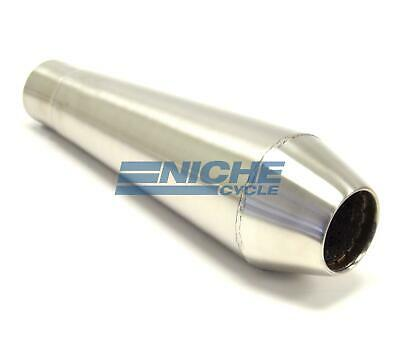 """12"""" Stainless Steel Performance Motorcycle Muffler Reverse Cone Brushed 2.0"""""""