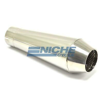 "12"" Stainless Steel Performance Motorcycle Muffler Reverse Cone Polished 2.5"""