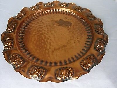 Vintage GREGORIAN Solid COPPER Embossed Daisy Round Decor Serving Tray USA