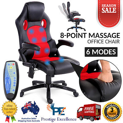 8 Point Massage Executive Office Computer Chair Racer Heated Recliner PU Leather