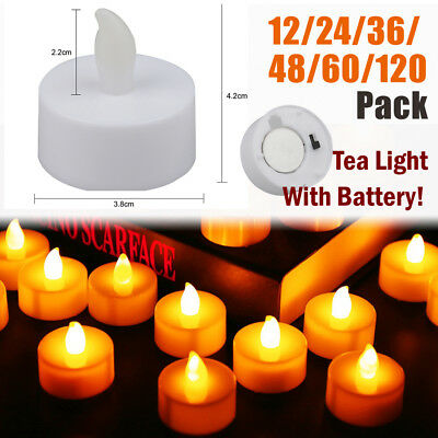 Battery Operated LED Tea Lights Candles Flameless Flickering Electric Tealight